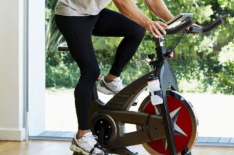 working-out-on-exercise-bike-at-home